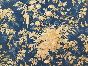 Antique French Printed Toile Cotton Fabric 19th c. Parisian blue Baskets Birds