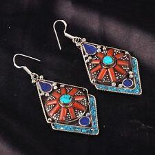 Ethnic Tibetan Red Coral, Turquoise & Lapis Lazuli Handcrafted Earrings NE7010
