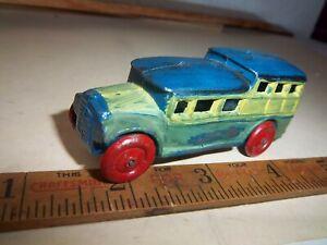 """Vintage 1930's Barclay Toys 3 1/4"""" Bus Only Slush Cast Bad Repaint Job"""