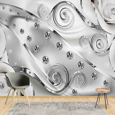Wall Mural Wallpaper 3D Luxury Diamonds Grey Silver - Photo Wallpaper (20168V8)