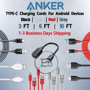 Anker 3FT / 6FT / 10FT TYPEC USBC Cable For Android Fits Samsung lot Fast Charge