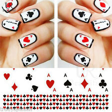Nail Art Water Decals Transfers Poker Aces Playing Cards Casino Gel Polish (252)
