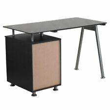 Flash Furniture 3 Drawer Glass Top Home Office Desk in Black