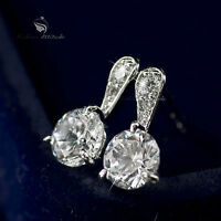 18k white gold gp made with SWAROVSKI crystal stud earrings dangle 0.75ct