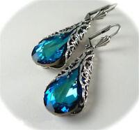 Blue Sapphire Gem Silver Feather Vintage Drop Dangle Wedding Engagement Earrings