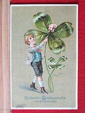 Prägekarte - Die besten Glückwünsche zum - Junge, Kleeblatt, Schwein ca 1905  m1