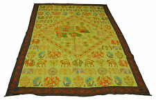 Green 60'' x 84'' Embroidered Wall Hanging Tapestry Bedspread Table Cover INDIAN