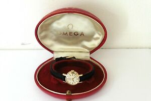 1963 LADIES 9K GOLD OMEGA AUTOMATIC WRISTWATCH IN EXCELLENT CONDITION WITH BOX