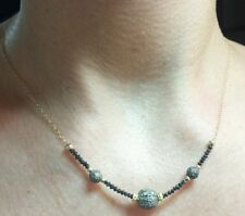 2.5ct faceted black Diamond and pave Diamond bali bead necklace 14k gold