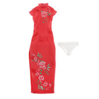 "1:6 Doll Clothes Long Elegant Chinese Cheongsam Outfit Red for 12"" OD Dolls"