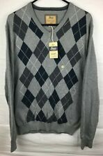 Bass Heritage Collection NWT Mens Blue/Gray Argyle V-Neck Sweater Sz L NEW w/Tag