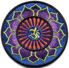 Hindu aum om infinity lotus hindi yoga peace trance applique iron-on patch G-60