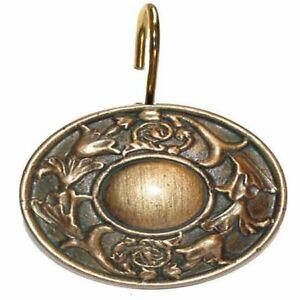 "Carnation Home ""Regency"" Resin Shower Curtain Hooks in Antique Gold"
