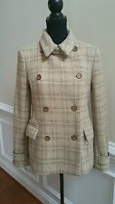 French Connection Women Wool Blend Coat Jacket Peacoat Size 8 Tan Plaid