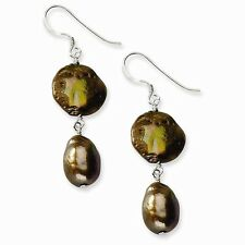 Sterling Silver Copper & Brown Freshwater Cultured Pearl Earrings