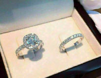 3.00 Ct Round Diamond Engagement Wedding Bridal Ring Set 14k White Gold Over