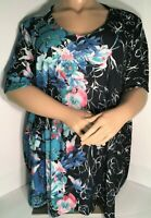 Sz 3X NWT CATHERINES WATERCOLOR FLORAL PRINT BLOSSOM SPARKLE STUDDED TOP V NECK