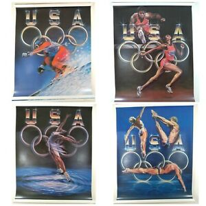 Vtg '88 Olympic Posters (4) Signed ~Shiela Wolk (Blue Cross+Shield - ABC) RARE