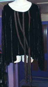 CYNTHIA ASHBY XL VELVET SILK LAGENLOOK RIBBON SHIRT