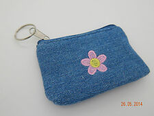 Key ring - Mini Denim Flower Purse! Wallet! Kids Tuck shop Pocket Money Bag clip