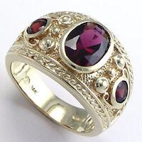 STUNNING MENS MEN'S GARNET RING 14k SOLID GOLD size 6 to14 #R642