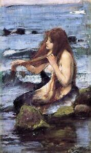 Fantasy MERMAID Waterhouse Painting Repro *CANVAS* Art PRINT ~ LARGE Size