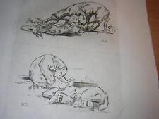 1948.eau forte Odette Denis lion ours.animaux