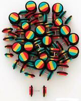 Pair 16g Rasta Cheater Fake Ear Plugs Gauges You Choose  Earrings 2g 0g 00g
