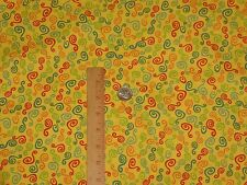 Java Time Exclusively Quilters Yellow Background Cotton Fabric Quilt Sew  BTY