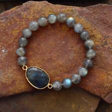 Natural Labradorite Healing Stone Geode Elastic Stacking Bracelet Cuff