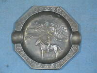 Vintage Souvenir of Canada Metal Ashtray Beaver Indian RCMP Mounties