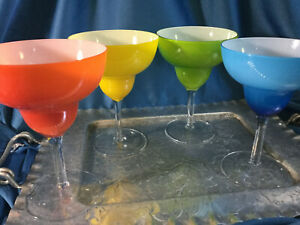 Set of 4 cased assorted colors clear stems margarita coctail Glasses, MINT