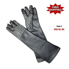 Heavy Duty Snake Handling Reptile Lizards Leather Gloves - W/ Stainless Staples