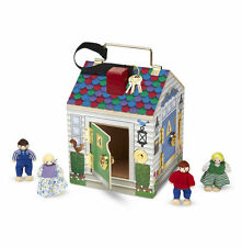 Melissa & Doug Wooden Doorbell Doll House with Four Dolls and Keys Lock MD2505