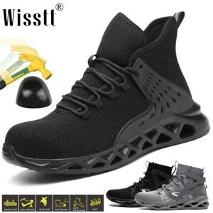 Mens Steel Toe Cap Mid-Ankle Trainers Safety Shoes Mesh Lace up Hiker Work Boots