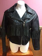 Harley Davidson Heavy Leather Riding Jacket, Fringe, Embossed Womens Size Large