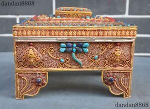 "9""Tibet Silver filigree 24k gold Inlay Turquoise Gem Tara goddess 8 treasure Box"