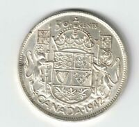 CANADA 1942 FIFTY CENTS HALF DOLLAR GEORGE VI CANADIAN SILVER COIN