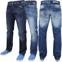 Enzo Mens Denim Jeans Regular Fit Straight Leg Free Belt Trousers Pants 28-48