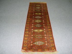 Rust Color Hand Knotted Carpet 2' x 6' Silk Turkish Living Room Corridor Hamdan