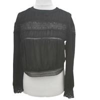 Dainty Paris Blouse Top Victoriana Style Sz Medium Black Sheer Goth Wicca