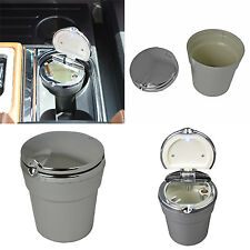 New LED Light Cup Ashtray Coin Holder Cigarette Bucket Car Truck Silver For Ford
