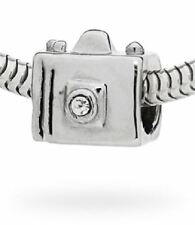 NEW BLING CAMERA SILVER PLATED PEWTER CHARM BEAD FITS EUROPEAN STYLE BRACELETS