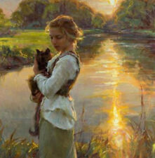 ZWPT529 100% hand-painted fine girl hold cats landscape art oil painting canvas