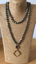 Free shipping Long Knot Beads Leopard Skin Stone Necklace w crystal pendant gift