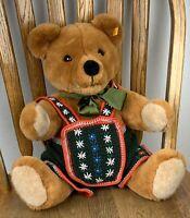 Rare-Ltd Edition Steiff Bear Bobby Brown Jointed Teddy W/ Crochet German Outfit