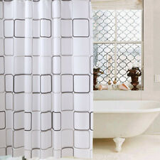 PEVA Checked Shower Curtains Waterproof Long Bathroom Curtain with Rings New