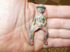 VINTAGE CAST IRON TOY COW GIRL RIDER HORSE RIDING