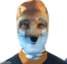 FOX FACE 3D EFFECT FACE SKIN LYCRA FABRIC FACE MASK GRIM REAPER SCARY HALLOWEEN