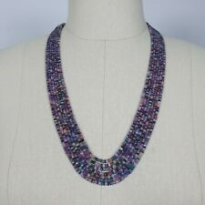 """Natural MULTI SAPPHIRE Rondelle Faceted Checker Cut Beads Necklace 19"""" - 22"""""""